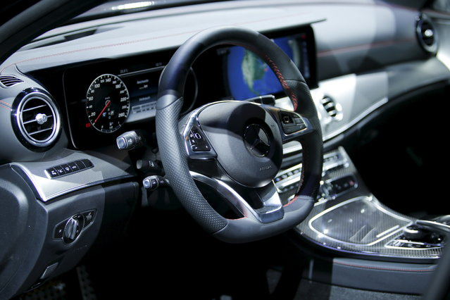 The interior of the Mercedes Benz GLC Coupe is seen during the media preview of the 2016 New York International Auto Show in Manhattan, New York on March 23, 2016. (Photo by Eduardo Munoz/Reuters)
