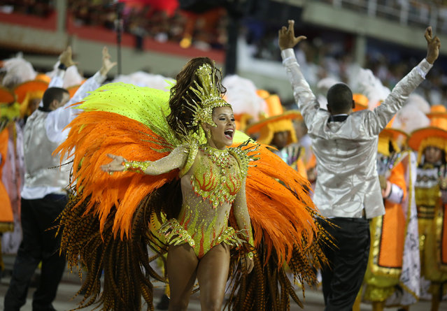 Drum queen Raphaela Gomes from Sao Clemente samba school performs during the second night of the carnival parade at the Sambadrome in Rio de Janeiro, Brazil February 27, 2017. (Photo by Pilar Olivares/Reuters)
