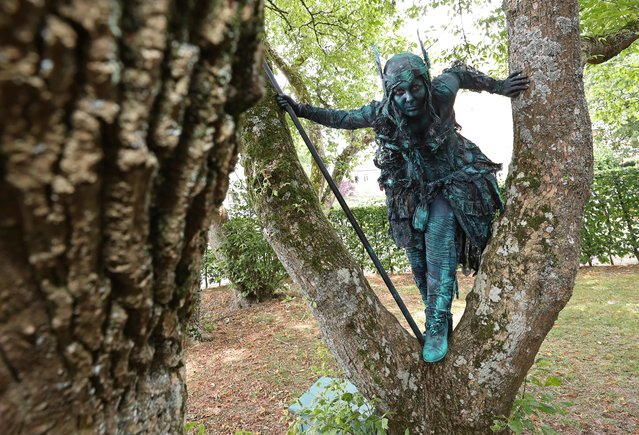 """An artist called """"A Valkyrie"""" takes part in the festival """"Statues en Marche"""" in Marche-en-Famenne, Belgium, July 20, 2019. (Photo by Yves Herman/Reuters)"""