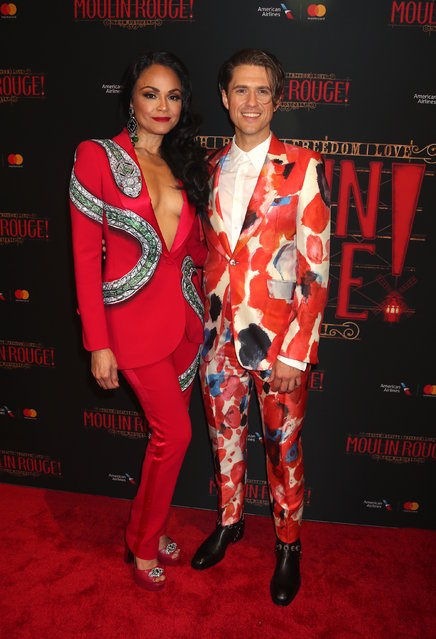 Karen Olivo and Aaron Tveit at Broadway Opening Night party for Moulin Rouge! The Musical, starring Karen Olivo and Aaron Tveit, at the Hammerstein Ballroom in New York on July 25, 2019. (Photo by Adam Nemser/Startraksphoto.com)