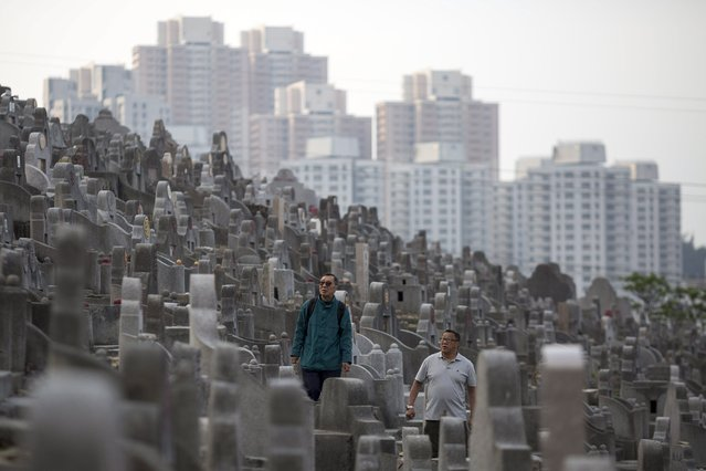 Two men look for a tomb among thousands of others in Diamond Hill cemetery in Hong Kong, China, 04 April 2017. (Photo by Jerome Favre/EPA)