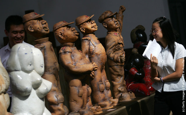 Ceramic works are displayed at the Qujiang International Conference and Exhibition Center at the International Academy of Ceramics 43rd General Assembly 2008 in Xian of Shaanxi Province, China