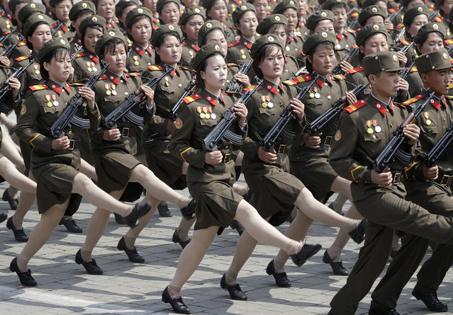 North Korean women soldiers march across Kim Il Sung Square during a military parade Saturday, April 15, 2017, in Pyongyang, North Korea, to celebrate the 105th birth anniversary of Kim Il Sung, the country's late founder and grandfather of current ruler Kim Jong Un. (Photo by Wong Maye-E/AP Photo)