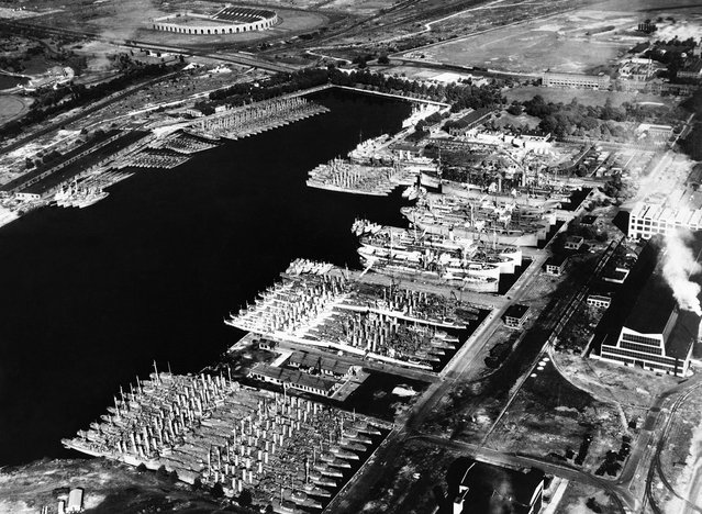 Outdated, but serviceable U.S. destroyers sit in the Back Bay at the Philadelphia Navy Yard, on Aug. 28, 1940. Plans were well underway to bring these ships up to date and transfer them to Allied countries to aid their defense. These programs would be signed into law as the Lend-Lease program in March of 1941, and would result in billions of dollars worth of war material being shipped overseas