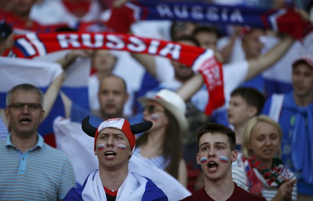 Football Soccer, Russia vs Wales, EURO 2016, Group B, Stadium de Toulouse, Toulouse, France on June 20, 2016. Russian fans sing before the match. (Photo by Sergio Perez/Reuters)