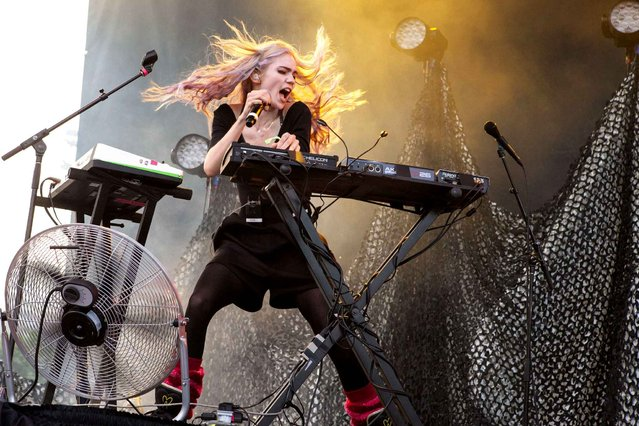 Grimes seen at the 2014 Pitchfork Music Festival, on Sunday, June 20, 2014 in Chicago. (Photo by Barry Brecheisen/Invision/AP Photo)