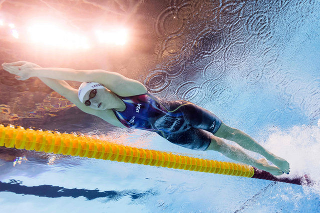 USA's Katie Ledecky competes in a Women's 200m Freestyle heat during the swimming event at the Rio 2016 Olympic Games at the Olympic Aquatics Stadium in Rio de Janeiro on August 8, 2016. (Photo by Francois-Xavier Marit/AFP Photo)