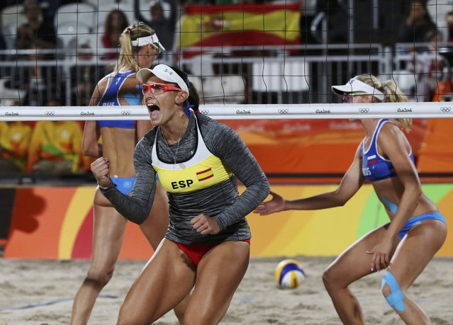 2016 Rio Olympics, Beach Volleyball, Women's Round of 16, Beach Volleyball Arena, Rio de Janeiro, Brazil on August 12, 2016. Liliana Fernandez Steiner (ESP) of Spain celebrates. (Photo by Adrees Latif/Reuters)