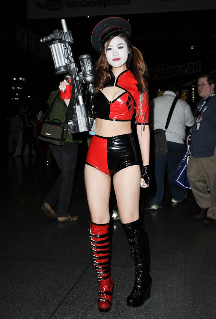 A Comic Con attendee poses during the 2014 New York Comic Con at Jacob Javitz Center on October 10, 2014 in New York City. (Photo by Daniel Zuchnik/Getty Images)