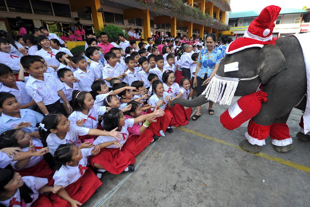 An elephant dressed in a Santa Claus costume gives out gifts to students to mark the Christmas season at a school in Ayutthaya province on December 24, 2010. The event was held as part of a campaign to promote Christmas in Thailand.    AFP PHOTO / PORNCHAI KITTIWONGSAKUL (Photo credit should read PORNCHAI KITTIWONGSAKUL/AFP/Getty Images)