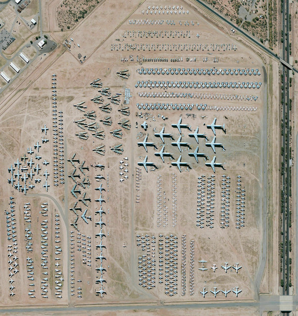 The largest aircraft storage and preservation facility in the world is located at Davis-Monthan Air Force Base in Tucson, Arizona, USA. The boneyard – run by the 309th Aerospace Maintenance and Regeneration Group – contains more than 4,400 retired American military and government aircrafts. (Photo by Benjamin Grant/Penguin Random House)