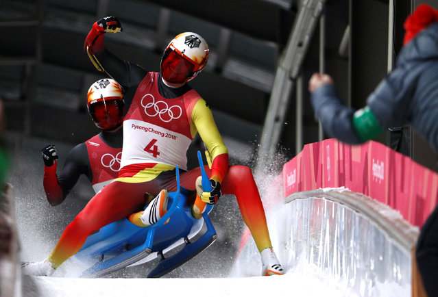 Germany' s Toni Eggert and Sascha Benecken compete in the doubles luge run 2 final during the Pyeongchang 2018 Winter Olympic Games at the Olympic Sliding Centre on February 14, 2018 in Pyeongchang. (Photo by Edgar Su/Reuters)