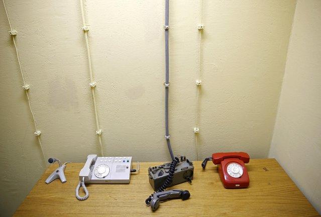Phones are seen in Josip Broz Tito's underground secret bunker (ARK) in Konjic, October 16, 2014. (Photo by Dado Ruvic/Reuters)