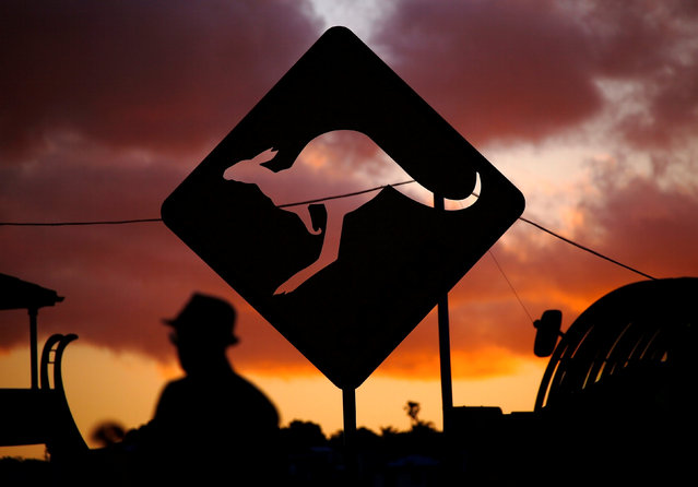 """A member of the public walks past a sculpture at sunset that is part of the annual outdoor exhibition known as """"Sculpture by the Sea"""" near Bondi Beach in Sydney, Australia October 19, 2016 which showcases sculptures by local and international artists along the coastline between Bondi and Tamarama beaches. (Photo by David Gray/Reuters)"""