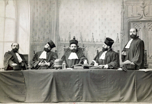 """Same Man Five Times in Judge Costume"" by Unknown, French, 1880s. Photographs were only subject to legal deposit arrangements in the Bibliothèque Nationale de France from 1925 onwards. However, photographers voluntarily deposited their works in the 19th century.  (Photo courtesy of The Metropolitan Museum of Art)"