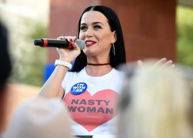 Singer Katy Perry speaks during a get out the early vote rally as she campaigns for Democratic presidential candidate Hillary Clinton at UNLV on October 22, 2016 in Las Vegas, Nevada. Today is the first day for early voting in Nevada ahead of the November 8 general election. (Photo by David Becker/Getty Images)