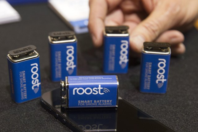 Batteries are shown in a Roost booth during the 2015 International Consumer Electronics Show (CES) in Las Vegas, Nevada January 4, 2015. The wi-fi enabled replacement batteries for smoke detectors will be able  send you a notification if the smoke alarm goes off when you are away and alert the owner when the battery is close to running out. The batteries are expected to be available in the summer of 2015, a representative said. (Photo by Steve Marcus/Reuters)
