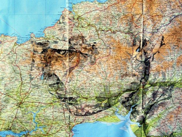 Bartholomew Series (Pencil on original Bartholomew maps of Galloway). (Photo by Ed Fairburn/Rex Features)