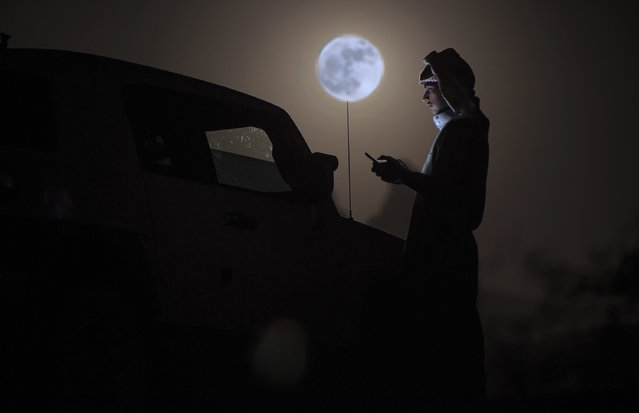 """A man looks at his phone as a """"supermoon"""" rises over the desert near Tabuk, some 1500 kilometers northwest of the Saudi capital Riyadh, on November 14, 2016. The phenomenon happens when the moon is full at the same time as, or very near, perigee – its closest point to Earth on an elliptical, monthly orbit. It was the closest to Earth since 1948 at a distance of 356,509 kilometres (221,524 miles), creating what NASA described as """"an extra-supermoon"""". (Photo by Mohammed Albuhaisi/AFP Photo)"""