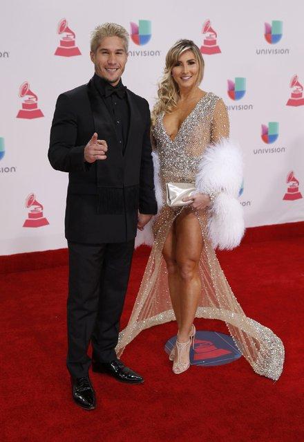 Recording artist Jesus Alberto Miranda Perez of Chino and Natasha Araos arrive at the 17th Annual Latin Grammy Awards in Las Vegas, Nevada, U.S., November 17, 2016. (Photo by Steve Marcus/Reuters)