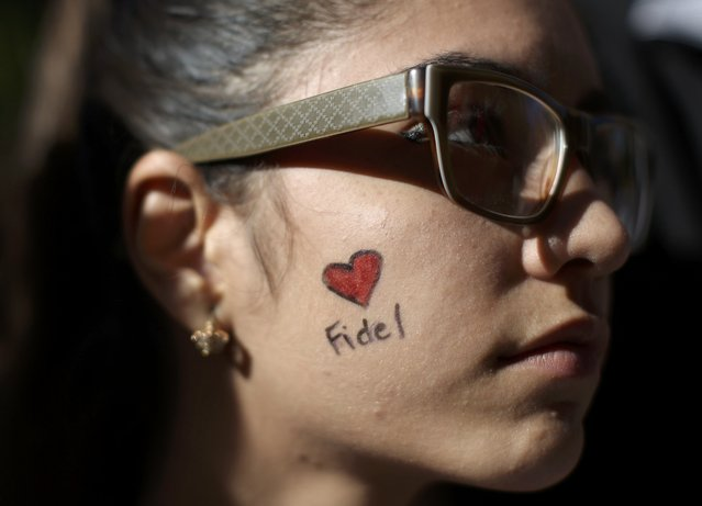 A student of Havana University participates in a tribute to Cuba's late President Fidel Castro in Havana, Cuba, November 28, 2016. (Photo by Alexandre Meneghini/Reuters)