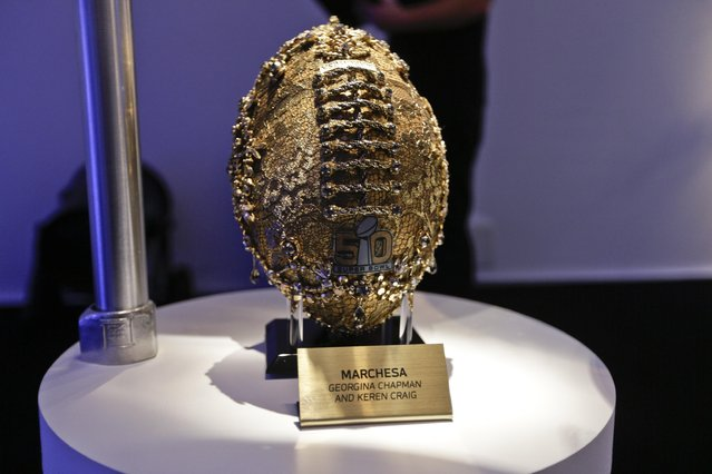 A Marchesa football is shown at the unveiling of the CFDA tootballs Wednesday, January 20, 2016, at the NFL headquarters in New York. (Photo by Frank Franklin II/AP Photo)