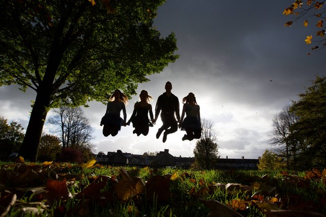 Dancers Shona Cobb, Chloey Turner, James Grennan and Laura Minogue at the announcement that Riverdance the global phenomenon Riverdance, will be the flagship January event for the year-long Limerick National City of Culture 2014 celebrations. (Photo by Sean Curtin/PA Wire)