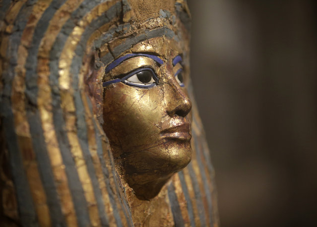 The coffin of Merit, architect Kha's wife, is seen at the Egyptian Museum of Turin, Italy, Tuesday, March 31, 2015. The museum, containing the world's second-largest collection of Egyptian artifacts after Cairo, is unveiling its new digs, including state-of-the art displays and an exhibit space double the original, allowing ancient artifacts to come out of storage and be seen by the public for the first time. (Photo by Antonio Calanni/AP Photo)