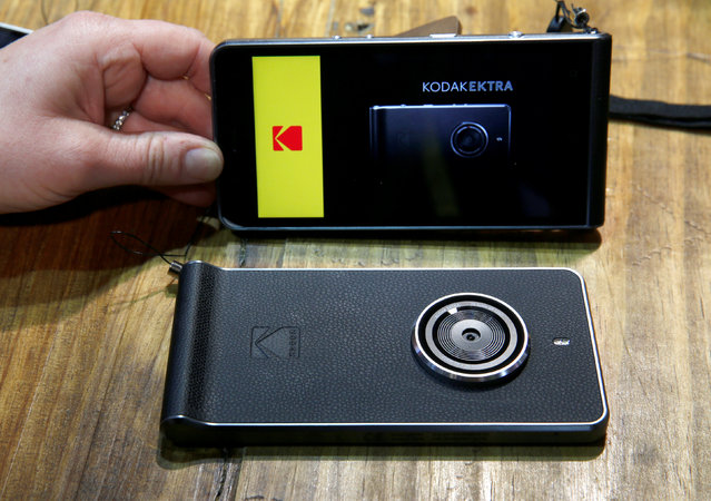 A Kodak Ektra smartphone is displayed during the 2017 CES in Las Vegas, Nevada, U.S., January 6, 2017. The Android phone is notable for it's industrial-style design and intuitive interface, a representative says. (Photo by Steve Marcus/Reuters)