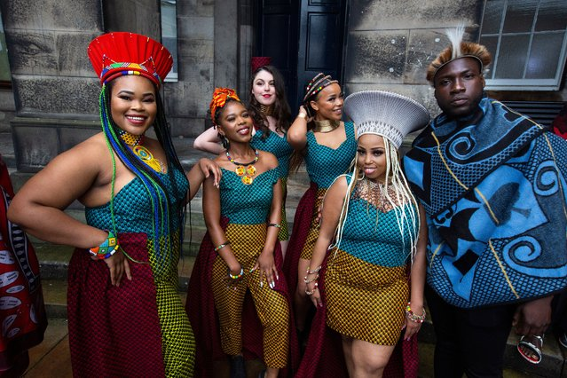 Members of Shona the Musical Choir pose before performing songs from their show set in Scotland and Zimbabwe in Edinburgh, United Kingdom on August 5, 2021. The choir is making its Edinburgh festival debut at Edinburgh Park. (Photo byMurdo MacLeod/The Guardian)