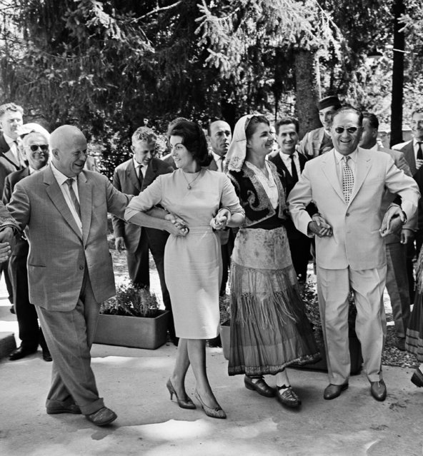 Yugoslavia. August, 1963. President of Yugoslavia Josip Broz Tito (R) and Soviet leader, First Secretary of the Central Committee of the Communist Party of the Soviet Union Nikita Khrushchev (L) dance traditional Croatian dances. The exact date of the photograph is unknown. (Photo by Vasily Yegorov/TASS)