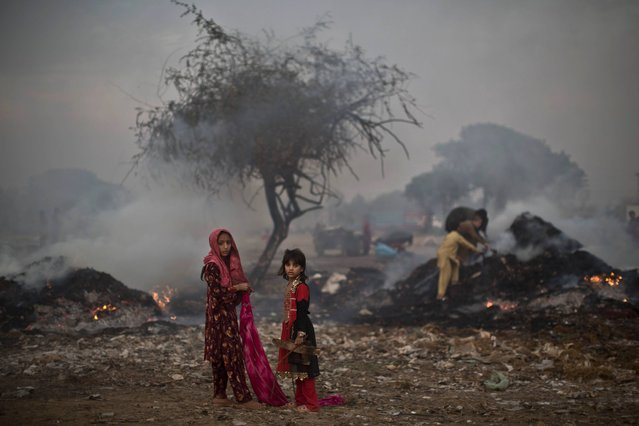 Pakistani children, survey woods from a burning field, which was used by fruit and vegetable sellers to store their wooden boxes, on the outskirts of Islamabad, Pakistan, Monday, Nov. 4, 2013. (Photo by Muhammed Muheisen/AP Photo)