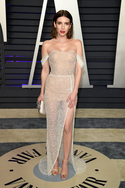 Emma Roberts attends the 2019 Vanity Fair Oscar Party Hosted By Radhika Jones – Arrivals at Wallis Annenberg Center for the Performing Arts on February 24, 2019 in Beverly Hills, California. (Photo by Daniele Venturelli/WireImage)