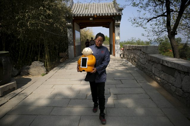 Longquan Buddhist temple's staff carries Robot Xian'er for its demonstration during a photo opportunity at the temple on the outskirts of Beijing, April 20, 2016. (Photo by Kim Kyung-Hoon/Reuters)
