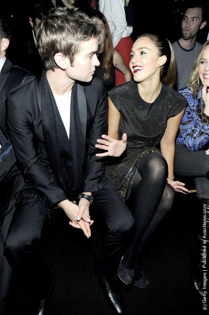 Chase Crawford and Jessica Alba attends the Versace for H&M Fashion event