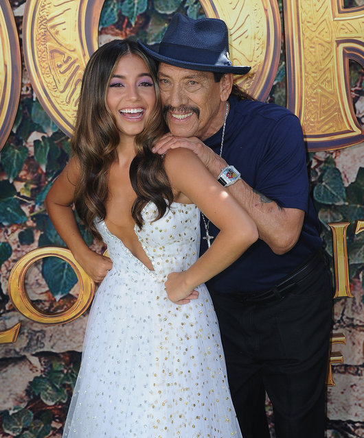 """Isabela Moner and Danny Trejo  attend the LA Premiere Of Paramount Pictures' """"Dora And The Lost City Of Gold"""" held at Regal Cinemas L.A. Live on July 28, 2019 in Los Angeles, California. (Photo by Albert L. Ortega/Getty Images)"""
