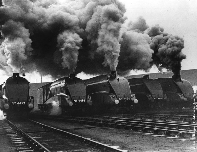 1937: London and North Eastern Railway (LNER) streamlined locomotives during a performance test in London.  From left, Dominion of New Zealand, Golden Shuttle, Empire of India, Golden Eagle and No. 10,000