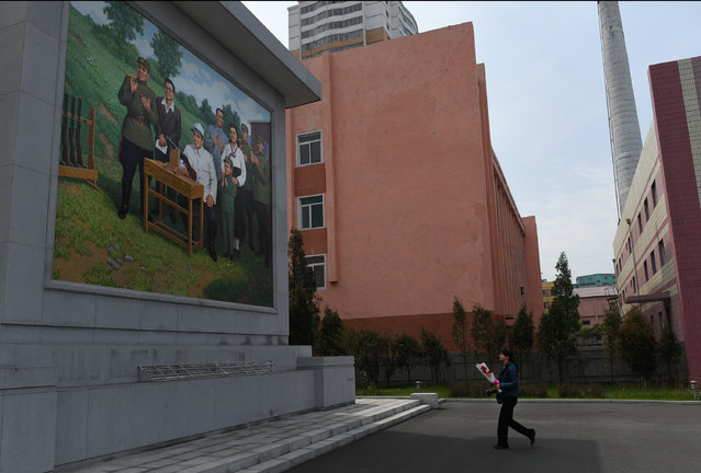 A Chinese journalist is asked to place flowers at the base of a portrait at the Pyongchon Revolutionary Site during a foreign press tour in Pyongyang, North Korea on May 5, 2016. The site is a former munitions factory, which was visited on several occasions by DPRK founder and late president Kim Il Sung (Kim Il-so'ng), his wife Kim Jong Suk (Kim Cho'ng-suk) and a young KJI. It routinely appears in official documentaries about revolutionary history and on the DPRK's military industrial complex. (Photo by Linda Davidson/The Washington Post)