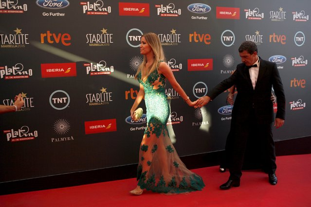 Spanish actor and director Antonio Banderas (R) and his girlfriend Nicole Kimpel arrive at the second Premios Platino Ibero-American Film Awards, where he will be awarded with the Premio Platino de Honor (Platinum Award of Honor) for Lifetime Achievement, in Marbella southern Spain, July 18, 2015. (Photo by Jon Nazca/Reuters)