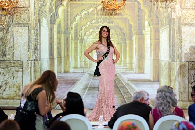 A candidate takes part in the Miss Iraq beauty contest in Baghdad, Iraq, Thursday, May 25, 2017. (Photo by Karim Kadim/AP Photo)