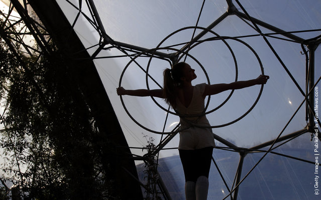 Trapeze artist Adie Delaney performs at a preview for NoFit State Circus new summer show at the Eden Project