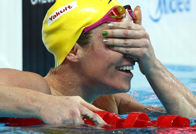 Australia's Emily Seebohm reacts after winning the women's 100m backstroke final at the Aquatics World Championships in Kazan, Russia, August 4, 2015. (Photo by Hannibal Hanschke/Reuters)