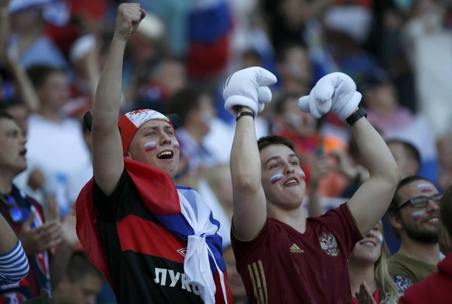 Football Soccer, Russia vs Wales, EURO 2016, Group B, Stadium de Toulouse, Toulouse, France on June 20, 2016. Russian fans cheer before the match. (Photo by Sergio Perez/Reuters)