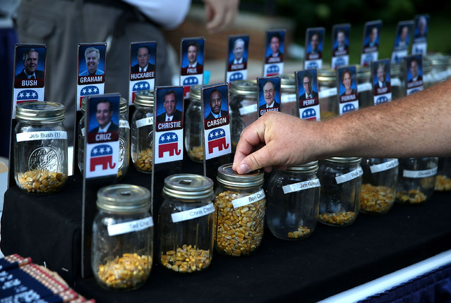A fairgoer places a vote for republican presidential hopeful Ben Carson during the Iowa State Fair on August 14, 2015 in Des Moines, Iowa. Presidential candidates are addressing attendees at the Iowa State Fair on the Des Moines Register Presidential Soapbox stage. The State Fair runs through August 23. (Photo by Justin Sullivan/AFP Photo)