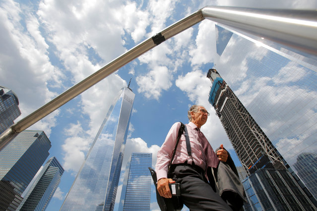 Local businessman Claude F. Gallello passes through the newly opened Liberty Park above Liberty Street on the World Trade Center site in the Manhattan borough of New York, U.S., June 29, 2016. (Photo by Andrew Kelly/Reuters)