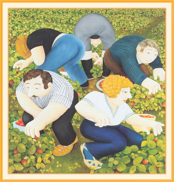 Strawberry Pickers. Artwork by Beryl Cook