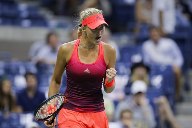 Kristina Mladenovic of France celebrates a point against Ekaterina Makarova of Russia during their fourth round match at the U.S. Open Championships tennis tournament in New York, September 6, 2015. (Photo by Eduardo Munoz/Reuters)