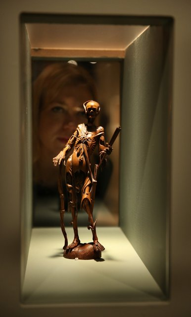 An 18th century fruitwood Memento Mori is shown at the Death: A Self-portrait exhibition at the Wellcome Collection on November 14, 2012 in London, England. The exhibition showcases 300 works from a unique collection by Richard Harris, a former antique print dealer from Chicago, devoted to the iconography of death. The display highlights art works, historical artifacts, anatomical illustrations and ephemera from around the world and opens on November 15, 2012 until February 24, 2013.  (Photo by Peter Macdiarmid)