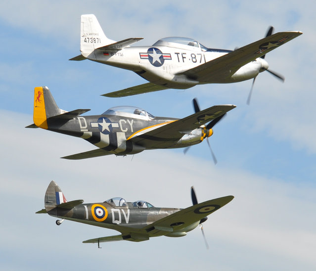 """The Fighter Trio - North American P-51D Mustang """"Miss Velma"""" D-CY and Supermarine Spitfire Supermarine 509 Spitfire T9C – G-CCCA/QVI – Flying Legends Airshow Duxford 2012 (Rob Lovesey)"""