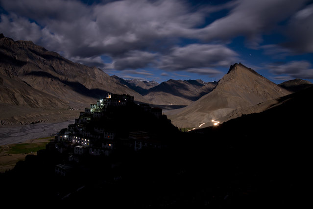 In this August 18, 2016, photo, the Key monastery is seen from a neighboring hilltop. Key is one of the most important Buddhist monasteries in the Spiti Valley, and home of more than 350 monks. (Photo by Thomas Cytrynowicz/AP Photo)
